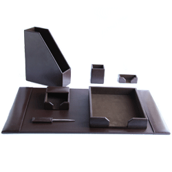 quality genuine leather office desk accessory set