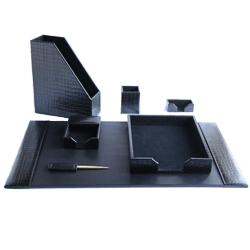 genuine leather desk set manufactured in the UK