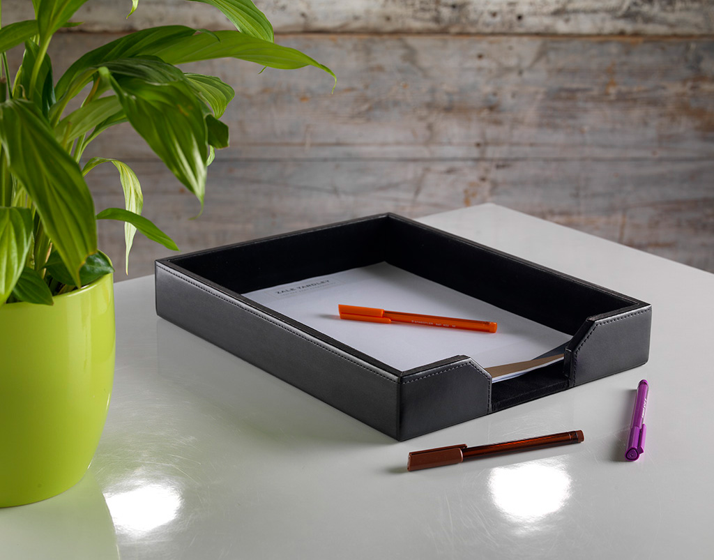 Classic Black Bonded Leather A4 Letter, Black Leather Desk Letter Tray