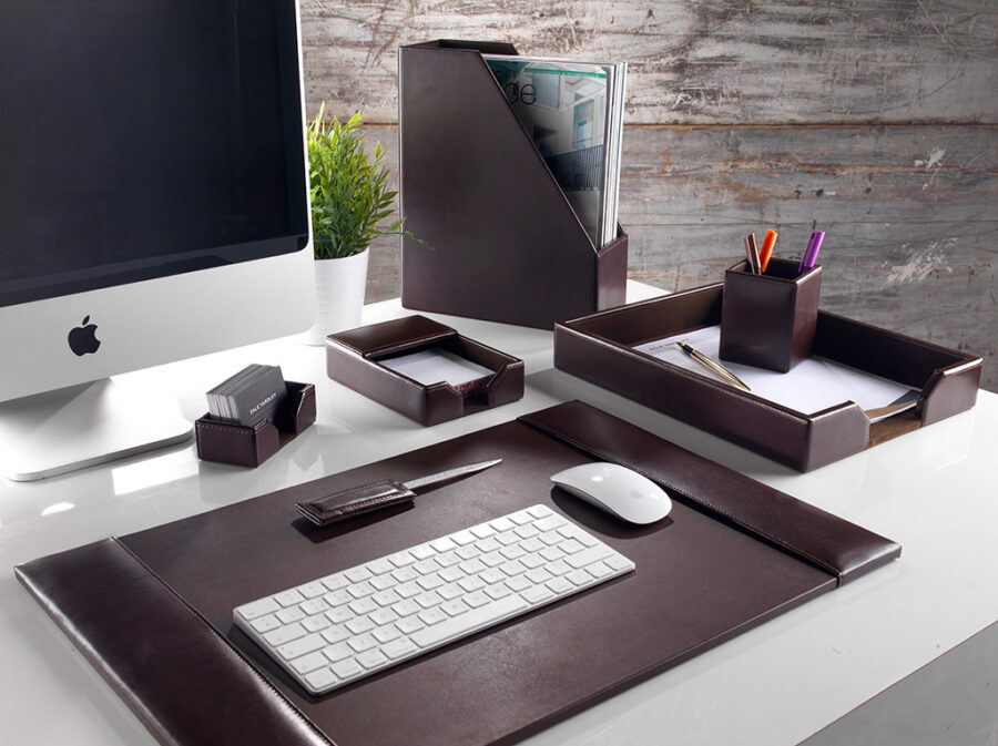 Brown leather desk set from the Classic Range