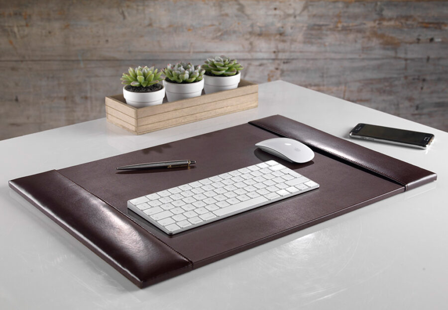 Dark Brown Leather Desk Pad or Blotter